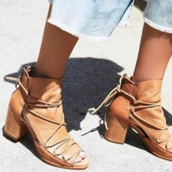 Free People Shoes - Free People Baske Reese Leather Distress Nude Heel